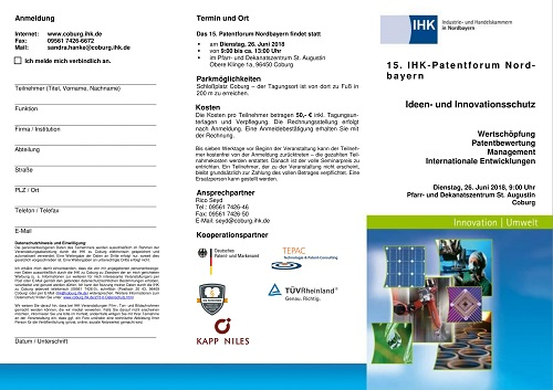 Flyer 15. Patentforum Nordbayern